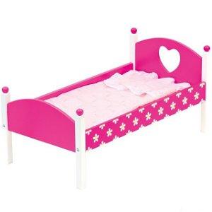 Postýlka pro panenky - Růžová s peřinkami (Bino)