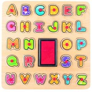 Razítka dřevěná - Na desce, Puzzle ABC (Woody)