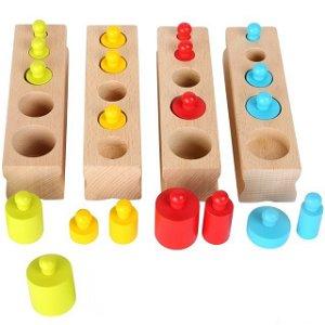 Montessori - Závaží dřevěná barevná vkládací (Legler)