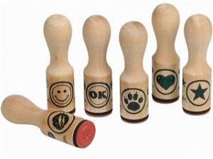 Razítka dřevěná - Symboly, 6ks (Goki)