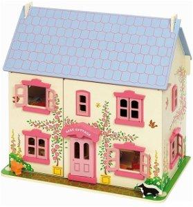 Domeček pro panenky - Růžový s vybavením (Bigjigs)