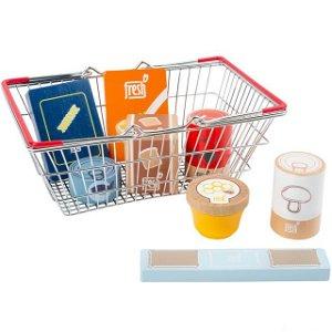 Prodejna - Nákupní košík + 8 dřevěných potravin (Legler)