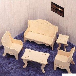 3D Puzzle přírodní - Sedací souprava se stolem