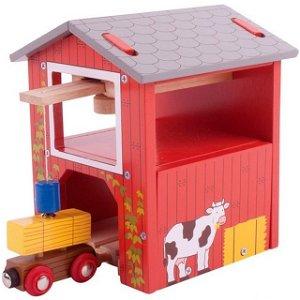 Vláčkodráha budovy - Farma, Seník s jeřábem (Bigjigs)