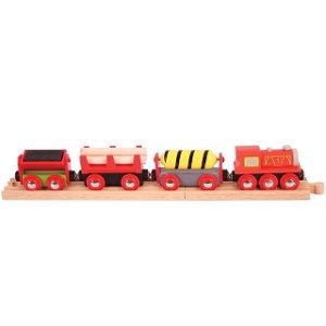 Vláčkodráha vláčky - Nákladní vlak červený + 3 koleje (Bigjigs)