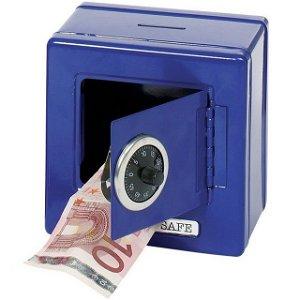 Plechová pokladnička Trezor modrý