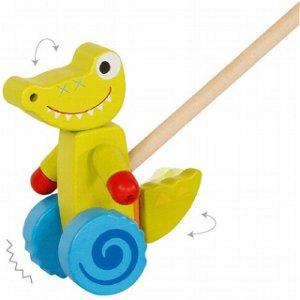 Jezdík na tyči - Krokodýl dřevěný (Goki)