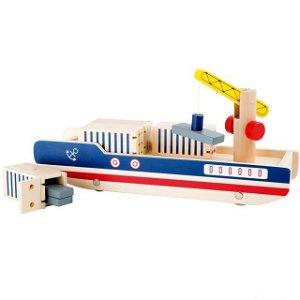 Loď dřevěná - Kontejnerová s jeřábem (Legler)