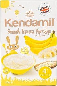 KENDAMIL Jemná dětská banánová kaše – obilný příkrm pro kojence a malé děti s přídavkem mléka, 4m+ (125g)