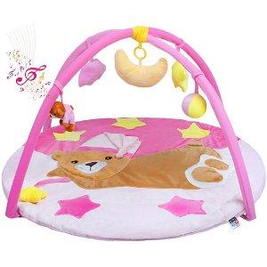 Hrací deka s melodií PlayTo spící medvídek růžová, Růžová