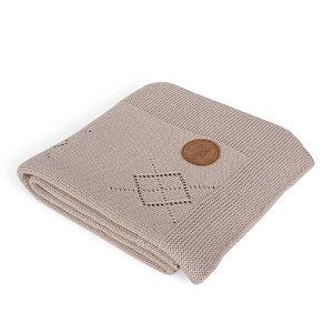 CEBA Deka pletená v dárkovém balení 90 x 90 hnědé rozety