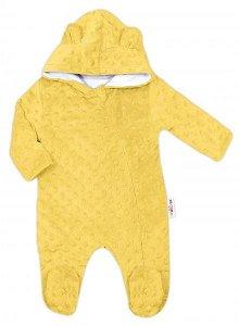 Baby Nellys Kombinézka/overálek MINKY s kapucí a oušky - žlutá, vel. 74, 74 (6-9m)