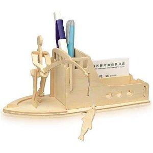 Woodcraft construction kit Woodcraft Dřevěné 3D puzzle stojánek na tužky rybaření