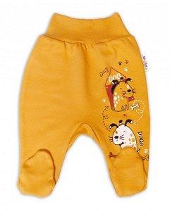 Baby Nellys Bavlněné kojenecké polodupačky, Dogs - hořčicové, vel. 74, 74 (6-9m)