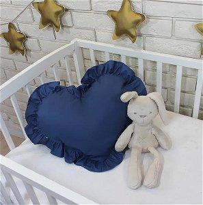 Baby Nellys Dekorační oboustranný polštářek - Srdce, 45  x 40 cm - tmavě modré