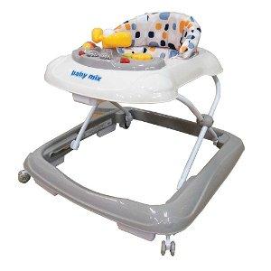 Dětské chodítko Baby Mix s volantem a silikonovými kolečky beige