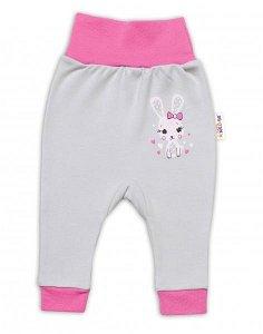 Baby Nellys Kojenecké tepláčky Lovely Bunny - šedé/růžové, vel. 80, 80 (9-12m)