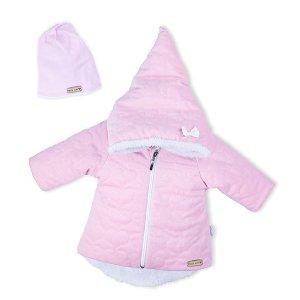 Zimní kojenecký kabátek s čepičkou Nicol Kids Winter růžový Růžová 56 (0-3m)