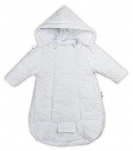 Kombinézka s kapucí do autosedačky, kočárku Lux Baby Nellys ®prošívaná - bílá, 56 (1-2m)