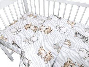 Baby Nellys 2-dílné bavlněné povlečení, ZOO Natural, hnědá, šedá, 135x100, 135x100