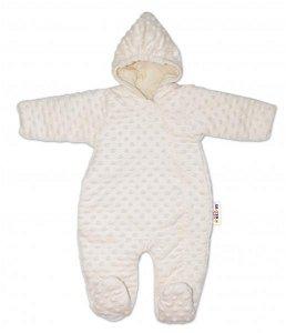 Baby Nellys Kombinézka/overálek Minky, zateplená - smetanová, 56-62 (0-3m)