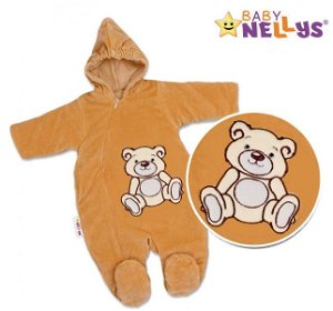 BABY NELLYS Kombinézka/overálek Teddy Bear, velikost: 74 - hnědá, 74 (6-9m)