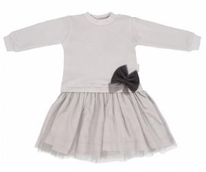 Mamatti Dětské šaty s týlem Louka - šedé, vel. 86, 86 (12-18m)