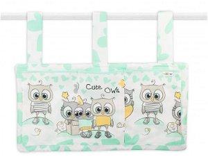 Baby Nellys  Kapsář na postýlku 3 kapsy - Cute Owls - zelený