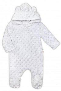 Baby Nellys Kombinézka/overálek MINKY s kapucí a oušky - bílá, vel. 68, 68 (3-6m)