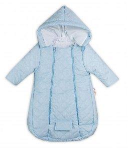 Kombinézka s kapucí do autosedačky, kočárku Lux Baby Nellys ®prošívaná - modrá, vel. 62, 62 (2-3m)
