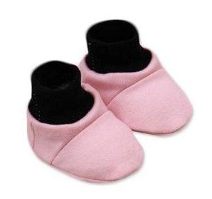 Baby Nellys Botičky/ponožtičky, Little princess bavlna - růžovo/černé, 56-68 (0-6 m)
