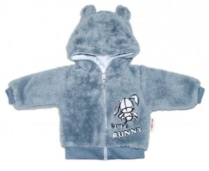 Baby Nellys Kojenecká chlupáčková bundička s kapucí Cute Bunny - šedá, 56 (1-2m)