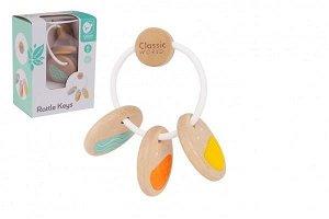 Teddies Chrastítko klíče dřevo/plast v krabičce 12x16x8cm 6m+