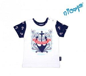 Kojenecké bavlněné tričko Nicol, Sailor - krátký rukáv, bílé, 56 (1-2m)