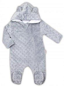 Baby Nellys Kombinézka/overálek MINKY s kapucí a oušky - šedá, vel. 62, 62 (2-3m)