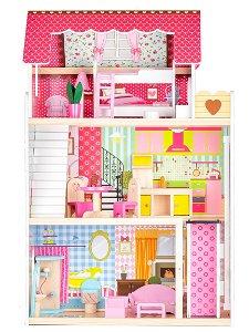 Dřevěný domeček pro panenky ECOTOYS Malinová rezidence