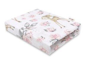 Baby Nellys Dětské bavlněné prostěradlo do postýlky, Srnka a růže - růžové, 120x60