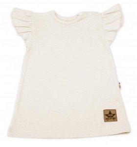 Baby Nellys Bavlněné šaty Nikolka s volánkem, krátký rukáv - smetanové, vel. 92, 92 (18-24m)