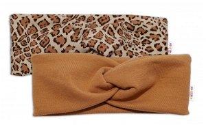 BABY NELLYS Dětské čelenky Gepard, sada 2 kusů - hnědá, gepard, 56-80 (0-12m)