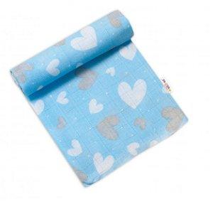 Baby Nellys Kvalitní bavlněná plenka - Tetra Premium, 70x80cm - Srdíčka v modré