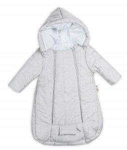 Kombinézka s kapucí do autosedačky, kočárku Lux Baby Nellys ®prošívaná - šedá, vel. 74, 74 (6-9m)