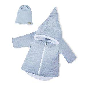 Zimní kojenecký kabátek s čepičkou Nicol Kids Winter šedý Šedá 68 (4-6m)