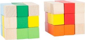 Small foot by Legler Displej - Dřevěná barevná skládací kostka 1 ks červená