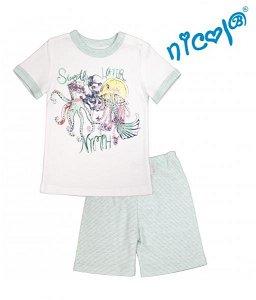 Dětské pyžamo Nicol kr. rukáv/kraťasky, Mořská víla - mátové/bílé, vel. 128, 128 (7-8r)
