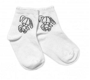 Baby Nellys Bavlněné ponožky Cutte Bunny - bílé, vel. 122/128, 122-128 (6-8r)