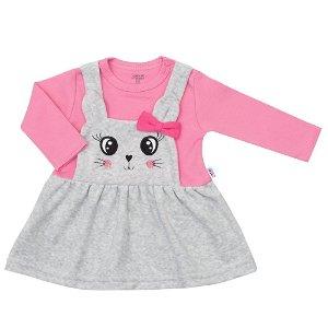 Kojenecké semiškové šatičky New Baby For Babies růžové Růžová 74 (6-9m)