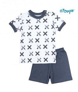 Dětské pyžamo krátké Nicol, Rhino - bílé/grafit, vel.116, 116 (5-6r)
