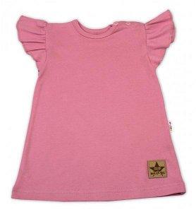 Baby Nellys Bavlněné šaty Nikolka s volánkem, krátký rukáv - starorůžové, vel. 98, 98 (2-3r)