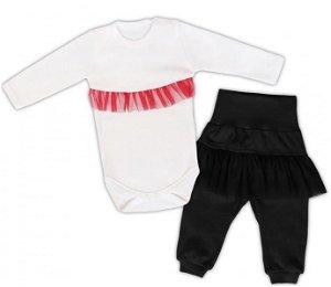 Mamatti 2dílná sada Body dl. rukáv s tutu volánkem, tepláčky s tutu, bílé, černé, vel. 74, 74 (6-9m)