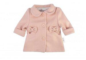 Baby Nellys Dětský flaušový kabátek s mašličkami, pudrově růžový, vel. 98, 98 (2-3r)